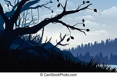 Vector illustration, Landscape view tropical forest the sky, clouds,  mountain peaks, and deep jungle. for the website background