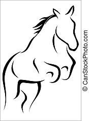 Leaping horse - Vector illustration - Leaping horse on a...