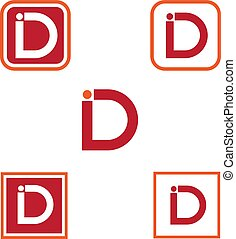 vector illustration letter i and d with square icon logo design