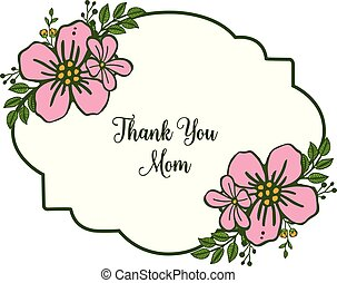 Vector illustration lettering thank you mom with pattern pink wreath frame