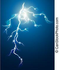 Vector illustration - lightning in the dark sky