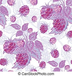 Vector illustration. Lilac seamless pattern of raspberries and leaves.