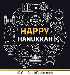 illustration lines icons happy hanukkah