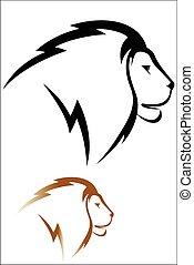 Lion head - Vector illustration : Lion head on a white ...