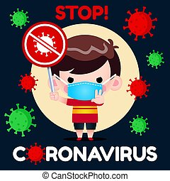 Vector Illustration Little Boy In Protective Mask Holding Stop Coronavirus Sign