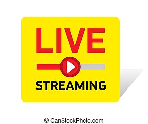 Vector illustration Live streaming red button. emblem with red play button