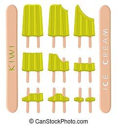 Vector illustration logo for natural kiwi ice cream