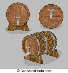 whole wood barrel - Vector illustration logo for whole wood...