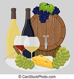barrel filled with wine - Vector illustration logo for wood...