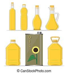 yellow glass bottle Sunflower Oil