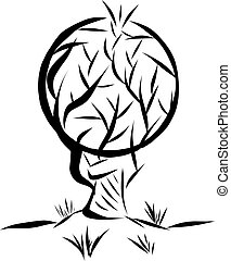 vector illustration logo in the form of an abstract tree with a round crown drawn by tassels on a white background