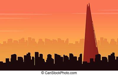 Vector illustration London city building scenery