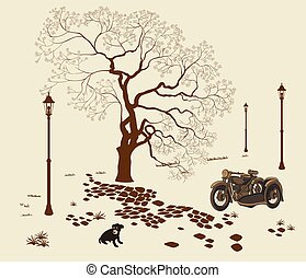 illustration loneliness, dog in the park