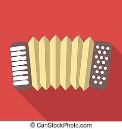 Vector illustration long shadow flat icon of accordeon