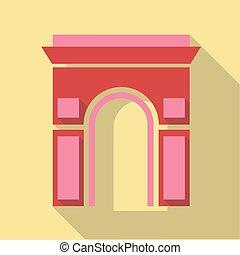 Vector illustration long shadow flat icon of Arc de Triomphe