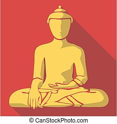 Vector illustration long shadow flat icon of buddha
