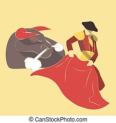 Vector illustration long shadow flat icon of bull fight