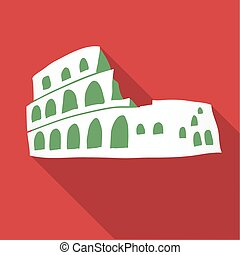 Vector illustration long shadow flat icon of coliseum