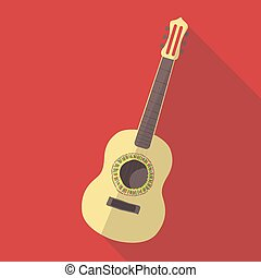 Vector illustration long shadow flat icon of flamenco classic guitar