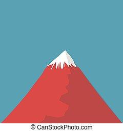 Vector illustration long shadow flat icon of fuji mountain