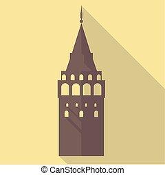 Vector illustration long shadow flat icon of galata tower -...