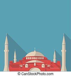 Vector illustration long shadow flat icon of hagia sophia mosque