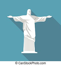 Vector illustration long shadow flat icon of jesus