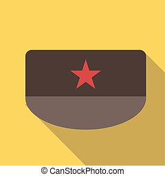 Vector illustration long shadow flat icon of military patrol field cap