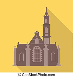 Vector illustration long shadow flat icon of noorderkerk