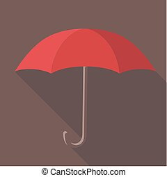 Vector illustration long shadow flat icon of red umbrella