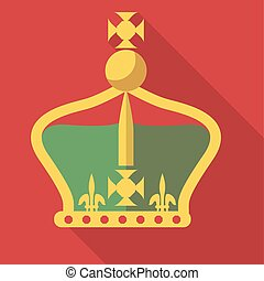 Vector illustration long shadow flat icon of royal crown