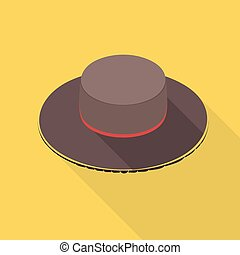 Vector illustration long shadow flat icon of spanish hat