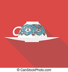 Vector illustration long shadow flat icon of turkish coffee
