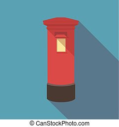 Vector illustration long shadow flat icon of london red post box