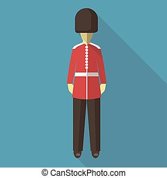 Vector illustration long shadow flat icon of english guard