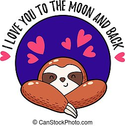 Vector illustration. Lovely cartoon sloth. Logo Icon....