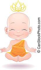 Lovely meditating buddhist baby boy - Vector illustration. ...
