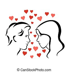 Loving couple - Vector illustration : Loving couple on a...