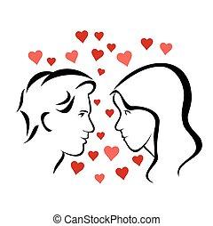 Loving couple - Vector illustration : Loving couple on a...
