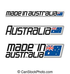 "Vector illustration ""made in Australia"", isolated australian simple flags drawings, aussie national state flag and text australia on white, official ensign banner with union jack and commonwealth star"