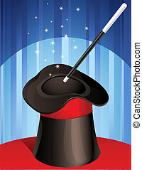 magic hat - Vector illustration - magic hat and magic wand