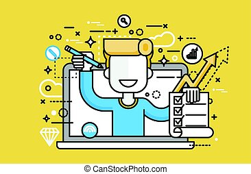 illustration man in laptop notebook offers fill in application form design element education, subscription email marketing newsletter online management line art style yellow background icon