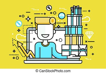Vector illustration man in laptop notebook with lot of shopping packing boxes of gifts design element marketing purchase, sale, discount, online store line art