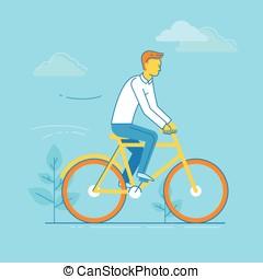 Vector illustration - man riding bicycle