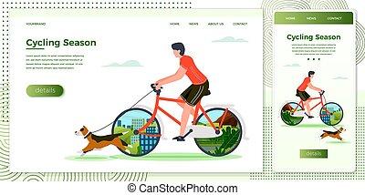 Vector illustration man riding on bike with dog