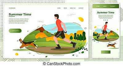Vector illustration man with dog rolling in park