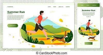Vector illustration man with dog running in park