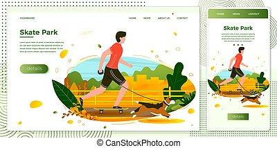 Vector illustration man with dog skating in park