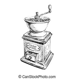 Vector Illustration Manual Coffee Grinder