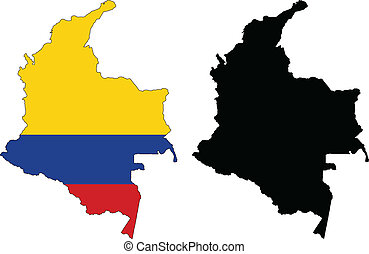 Colombia - Vector illustration map and flag of Colombia.